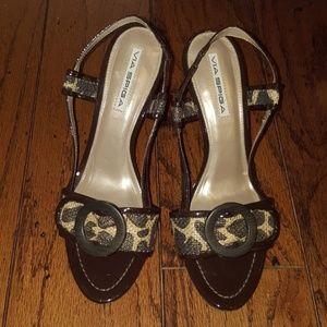 Patent Leopard Heels